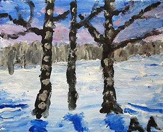 Anne Abbott's birch trees in a winter field