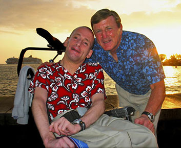 Rick and Dick Hoyt at Hawaiian sunset