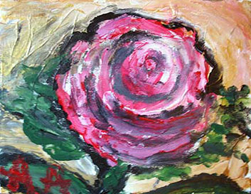 Anne Abbott's painting of vibrant rose